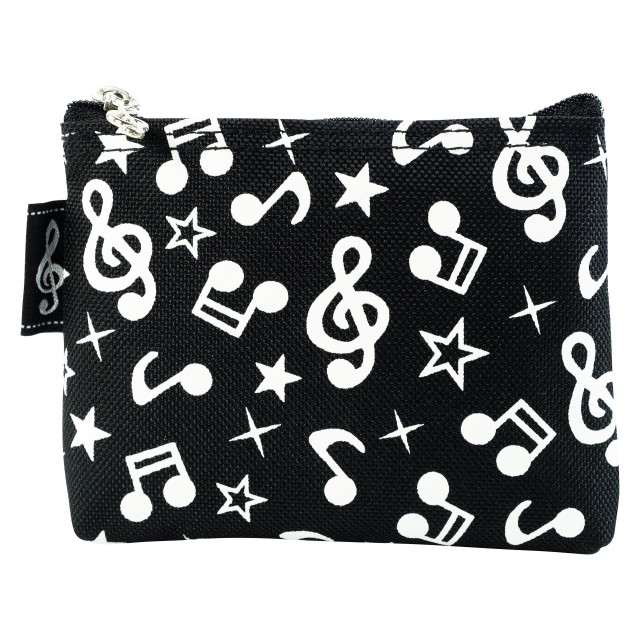 Music Notes Star Coin Purse (Black)