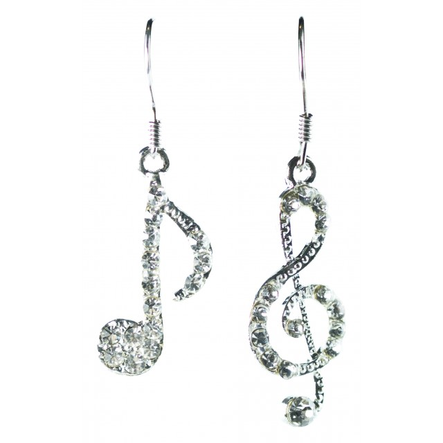 Silver Treble and Quaver Hook Earrings