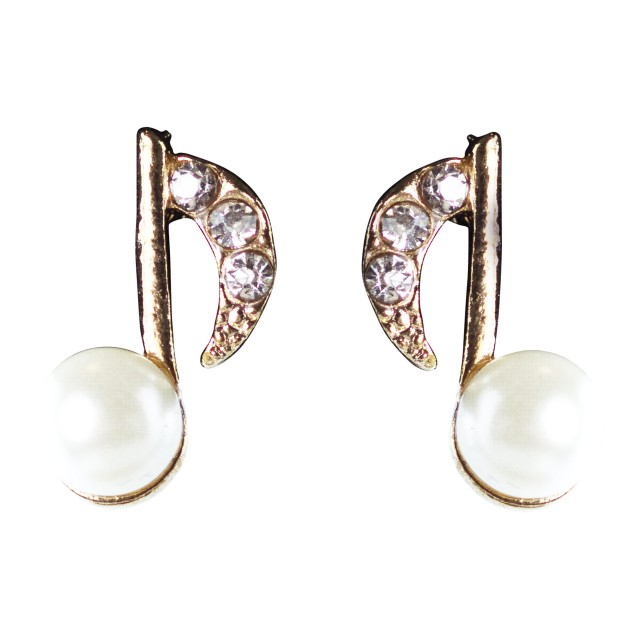 Pearl Gold Music Eighth Note Earrings