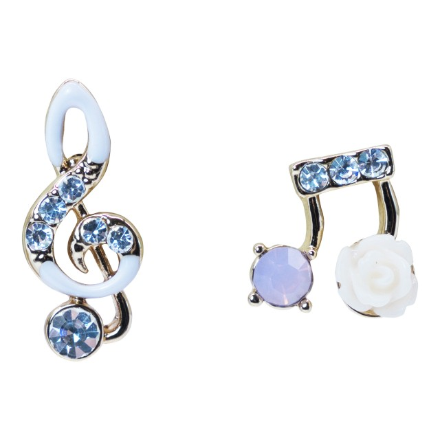 Crystal Music Note Flower Stud Earrings
