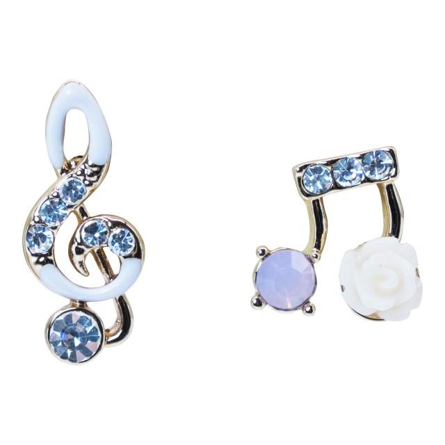 Crystal Music Note Flower Stud Earrings