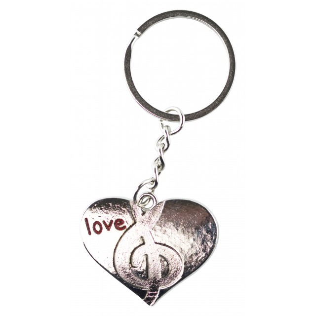 Metal Heart Shaped Music Keychain