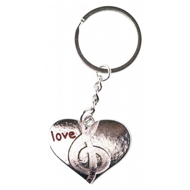 Metal Heart Shaped Music Keychain