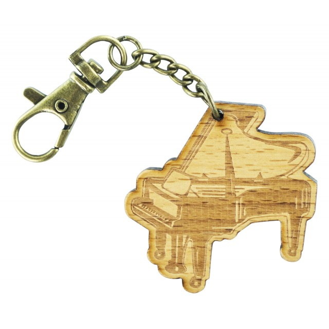 Wooden Piano Shaped Keychain