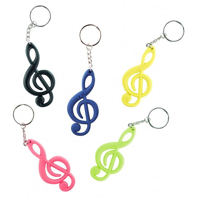 Colourful Treble Clef Shaped Plastic Music Keychain