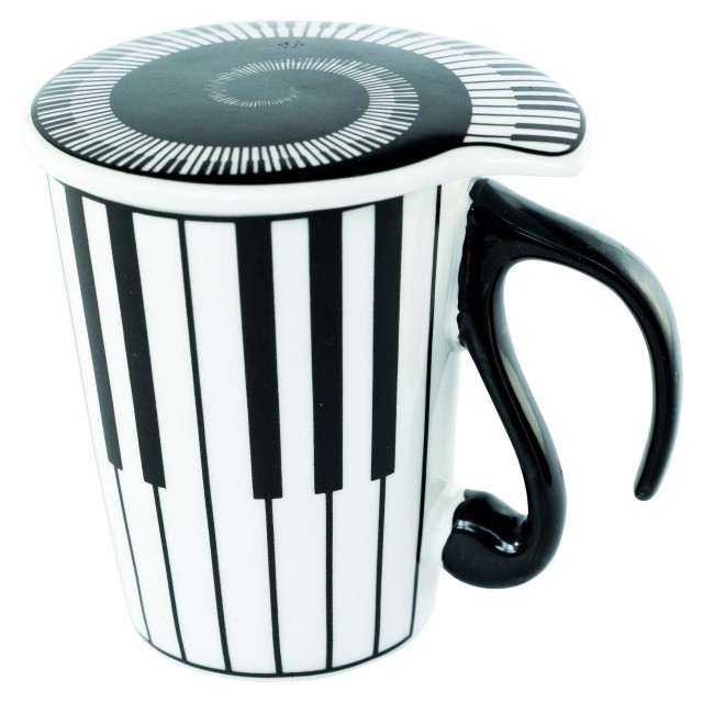 Piano Keyboard Coffee Mug with Lid
