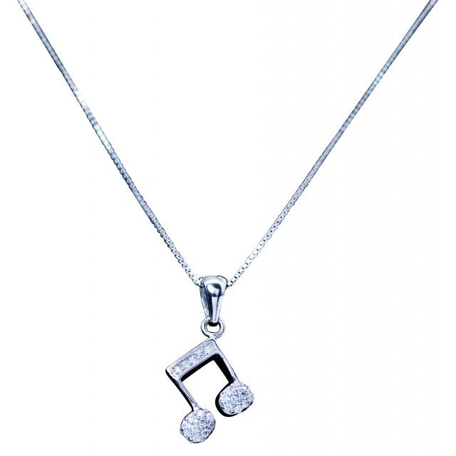 Music Note Quaver Pendant Silver Necklace
