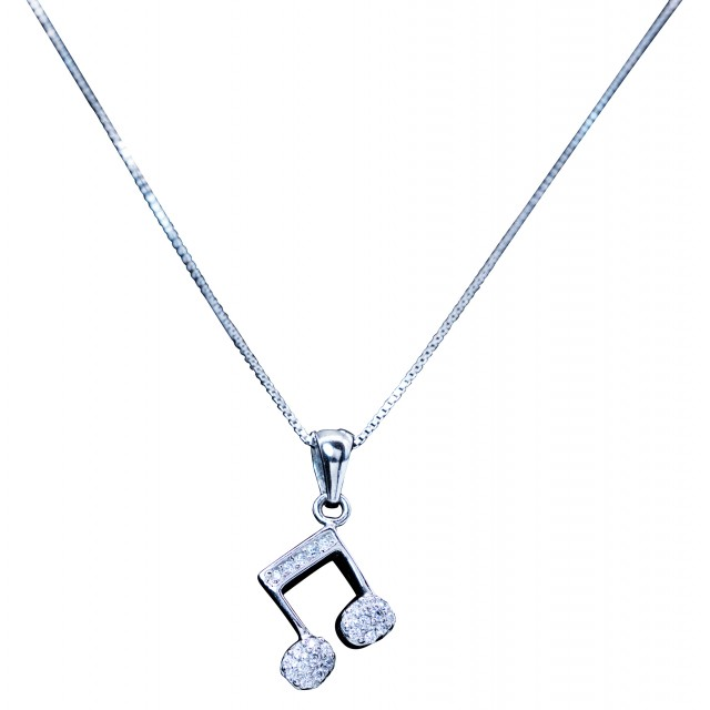 Music Note Quaver Pendant Silver Necklace