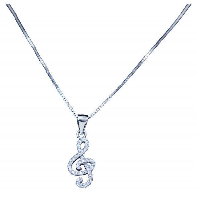 Treble Clef Diamond Necklace