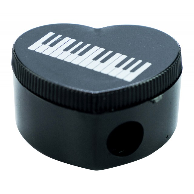 Piano Keyboard Heart Shaped Pencil Sharpener (Black)
