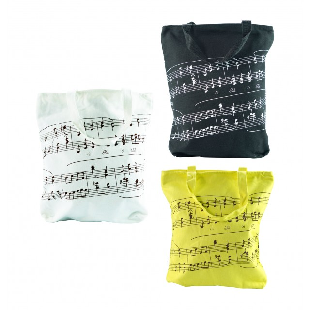 Music Note Printed Cotton Tote Bag
