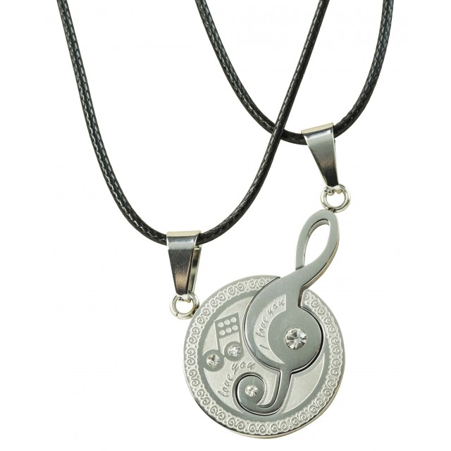 Leather Chain Music Symbol Pendant