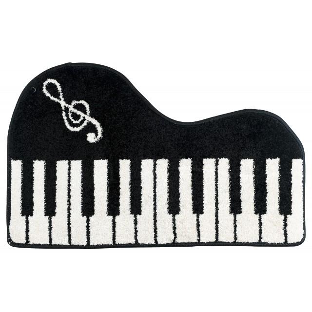 Black Piano Shaped Keyboard Floor Mat
