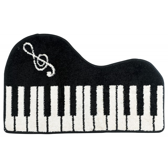 Black Piano Shaped Keyboard Floor Mat