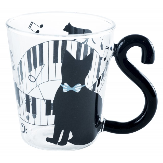 Piano Cat Glass Mug