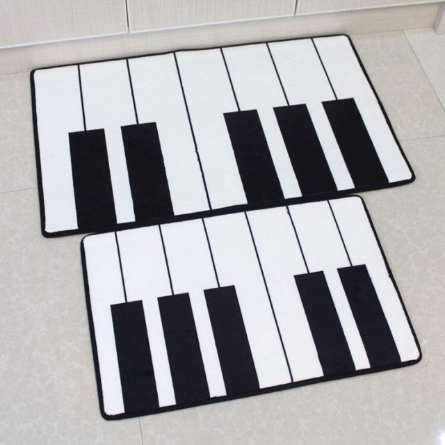 Black and White Piano Keys Floor Mat