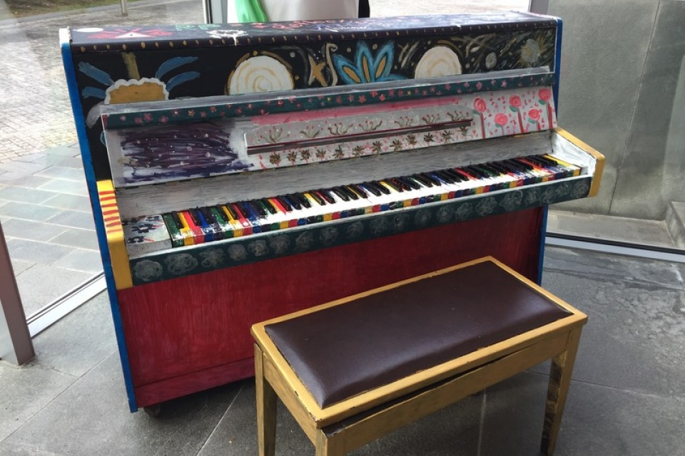 Close-up of the Upright Piano in TRCC outside the theatre