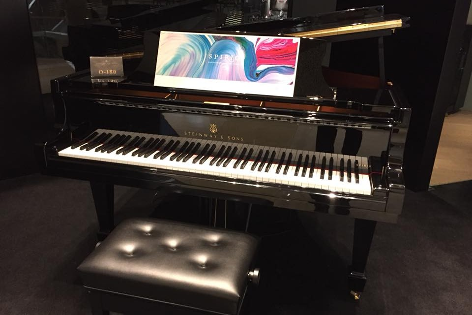 Close-up of the O-180 Grand Piano at Steinway Gallery