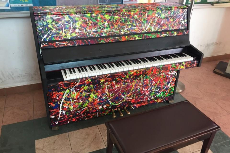 Close-up of the Upright Piano at Kaki Bukit Community Centre