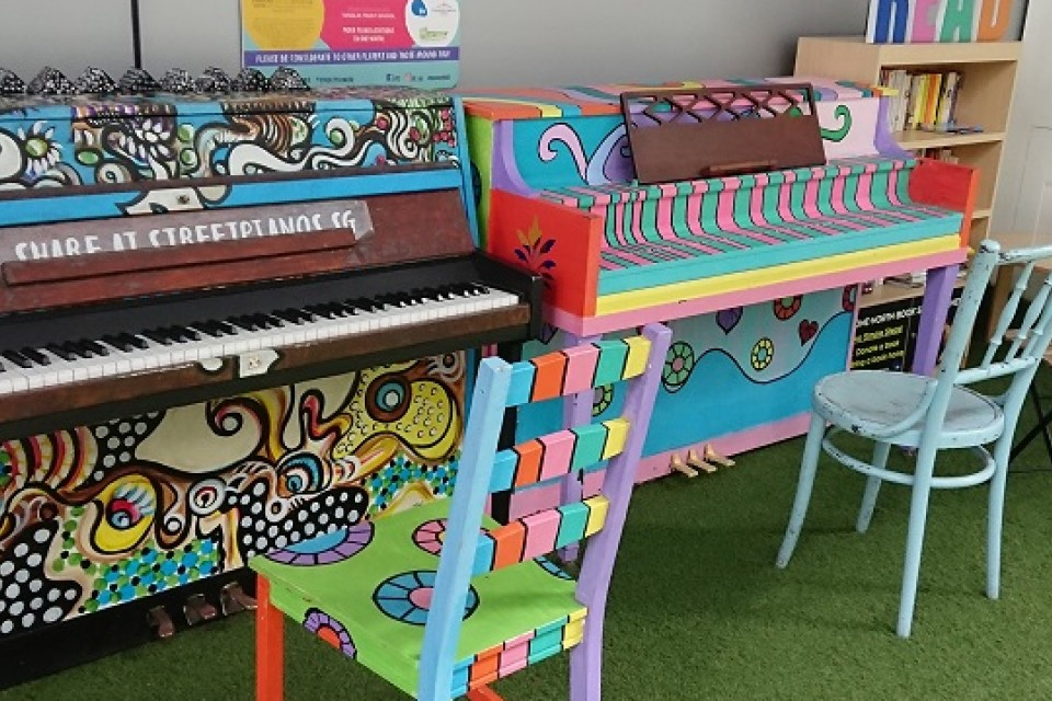 2 Upright Pianos at Biopolis Matrix