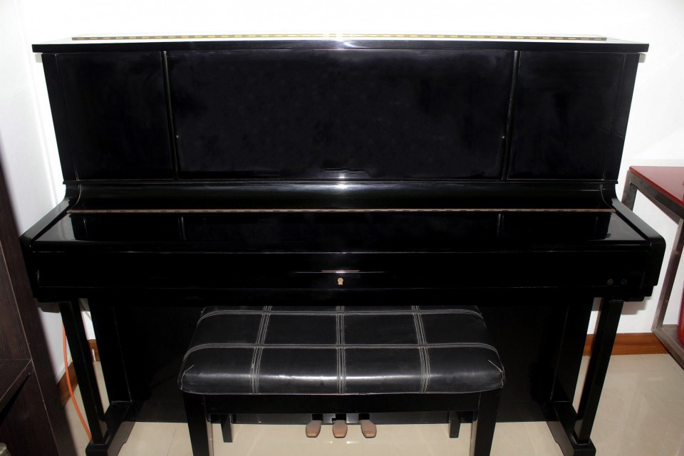Samick Black Lacquer Upright Piano With Bench Used Piano
