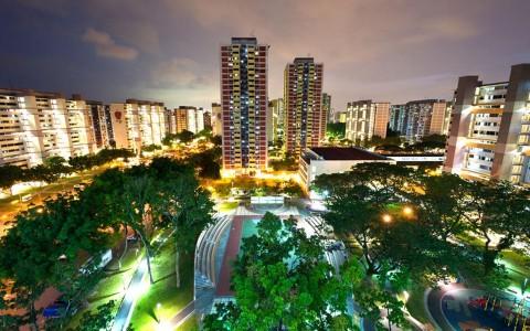 Singapore HDB flats at night