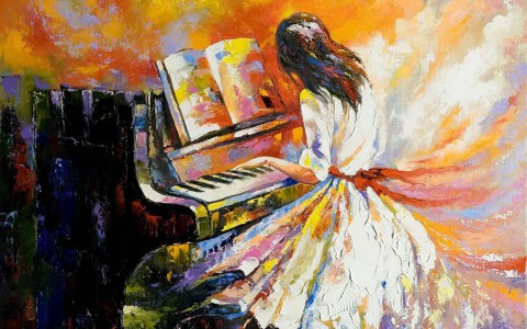 Oil painting of a girl playing the piano