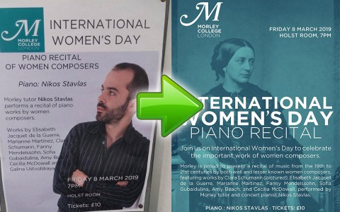 Piano Recital Poster for International Women's Day Gone Wrong